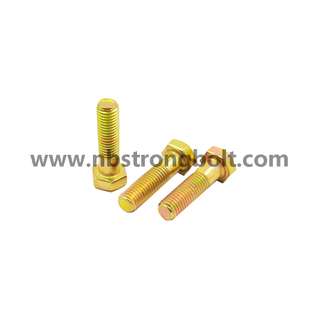 Hex Bolts DIN931 Cl. 10.9 with Yellow Zinc/China hex bolts manufacturer,China Structural Bolt factory,China astm bolts
