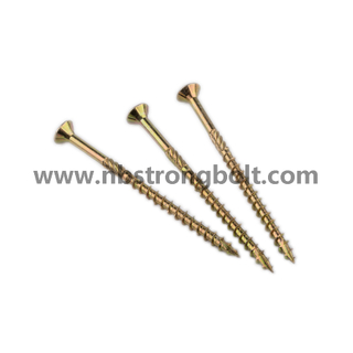 Double Flat Head Harden Yellow Zinc Plated Chipboard Screw/China chipboard screw factory,China chipbopard screw manufacturer