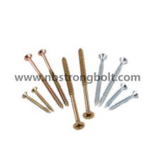 Chipboard Screw DIN7505 Pozi Drive Csk Head Yellow Zinc Plated Flat Head Screw/China chipboard screw factory,China chipbopard screw manufacturer
