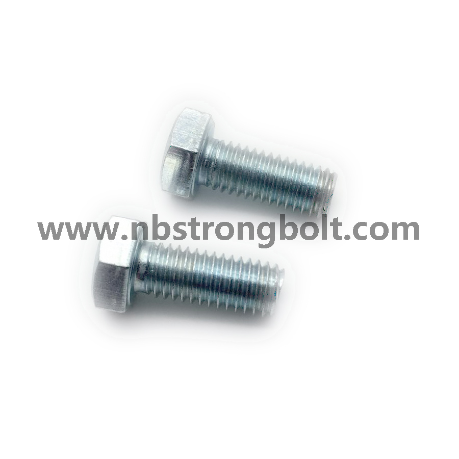DIN933 Hex Bolts Gr. 8.8 with White Zinc Plated Cr3+ M8X14、China hex Bolt manufacturer,China bolts factory,China hex bolts factory