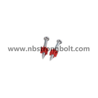 "High-Strength Shooting Nails with Red Washer with Zinc Plated Cr3+ 3.7X3"" (Cold Forge)/China shooting nail factory,China shooting nail manufacturer"