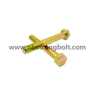 Hex Bolt Cl. 10.9 Yellow Zinc Plated,China hex bolts manufacturer,China Structural Bolt factory,China astm bolts