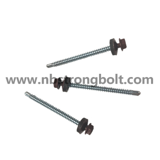 Hex Washer Head Self Drilling Screw with RAL 8017 Head Painted