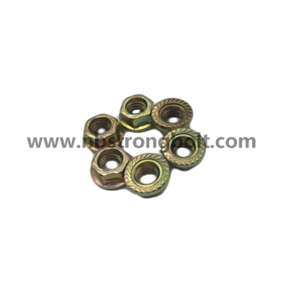 DIN6923 Hex Flange Nut with Yellow Zinc Plated M6/China nut factory,China hex flange nut manufacturer
